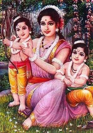 Sita mit den Söhnen Lava und Kusha