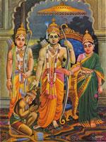 Lakshmana, Hanuman, Rama und Sita
