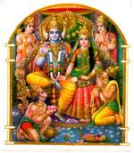 Lakshmana, Hanuman, Rama, Sita, Augriva und Bharata